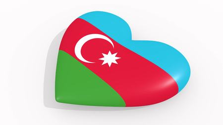 Heart in colors and symbols of Azerbaijan on white background 3D rendering Imagens