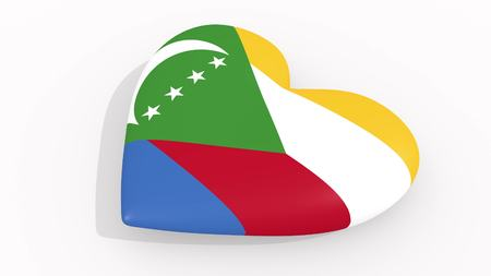 Heart in colors and symbols of Comoros on white background 3D rendering Imagens