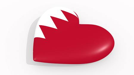 Heart in colors and symbols of Bahrain on white background 3D rendering
