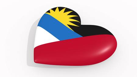 Heart in colors and symbols of Antigua and Barbuda on white background 3D rendering