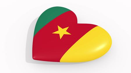 Heart in colors and symbols of Cameroon on white background 3D rendering