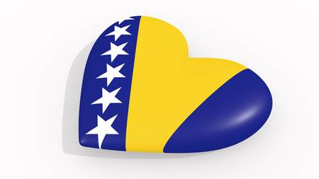 Heart in colors and symbols of Bosnia and Herzegovina on white background 3D rendering