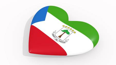 Heart in colors and symbols of Equatorial Guinea on white background, loop 3D rendering