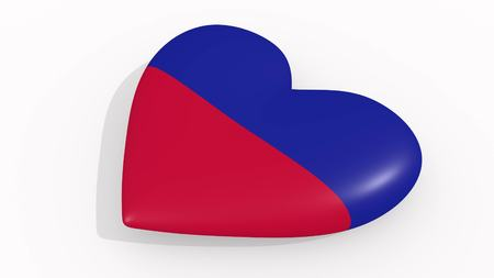Heart in colors and symbols of Haiti on white background, loop 3D rendering