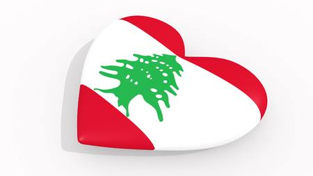 Heart in colors and symbols of Lebanon on white background, loop 3D rendering