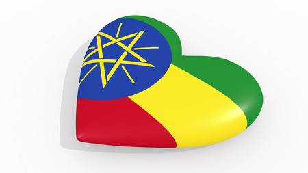 Heart in colors and symbols of Ethiopia on white background, loop 3D rendering