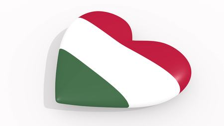 Heart in colors and symbols of Hungary on white background, loop 3D rendering