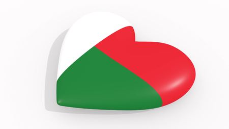 Heart in colors and symbols of Madagascar on white background, loop 3D rendering