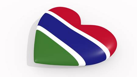 Heart in colors and symbols of Gambia on white background, loop 3D rendering Standard-Bild
