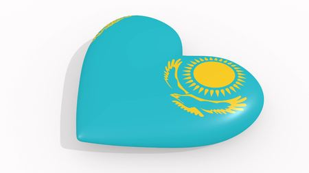 Heart in colors and symbols of Kazakhstan on white background, loop 3D rendering