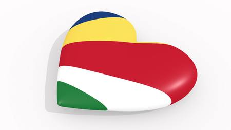 Heart in colors and symbols of Seychelles on white background, loop 3D rendering