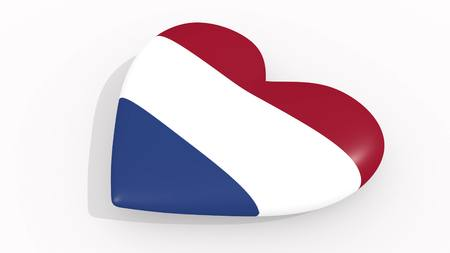 Heart in colors and symbols of Netherlands on white background, loop 3D rendering