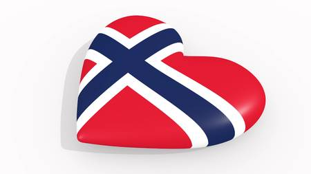 Heart in colors and symbols of Norway on white background, loop 3D rendering
