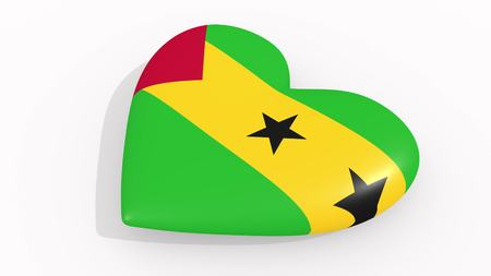 Heart in colors and symbols of Sao Tome and Principe on white background, loop 3D rendering 免版税图像
