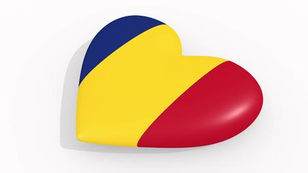 Heart in colors and symbols of Romania on white background, loop 3D rendering