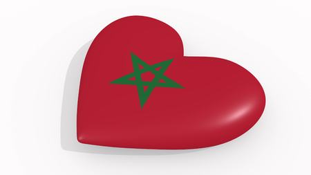 Heart in colors and symbols of Morocco on white background, loop 3D rendering