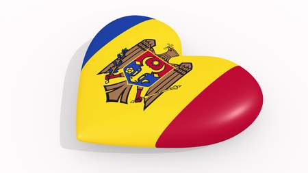 Heart in colors and symbols of Moldova on white background, loop 3D rendering