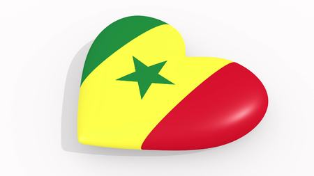 Heart in colors and symbols of Senegal on white background, loop 3D rendering