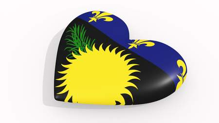 Heart in colors and symbols of Guadeloupe on white background, loop 3D rendering