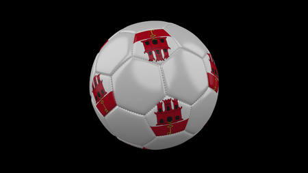 Soccer ball with the flag of Gibraltar colors, 3d rendering