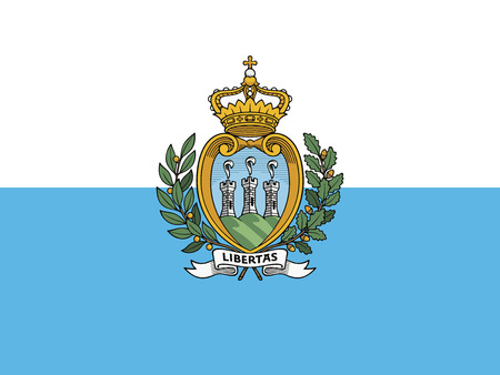 Flag of Republic of San Marino in official rate and colors vector. 向量圖像