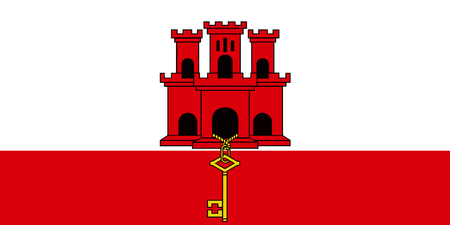 Flag of Gibraltar in official rate and colors vector.