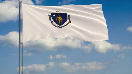 Flag of Massachusetts - US state fluttering in the wind against a cloudy sky 3d rendering