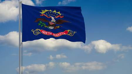 Flag of North Dakota - US state fluttering in the wind against a cloudy sky 3d rendering