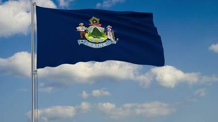 Flag of Maine - US state fluttering in the wind against a cloudy sky 3d rendering
