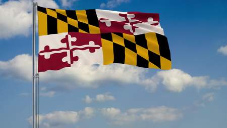 Flag of Maryland - US state fluttering in the wind against a cloudy sky 3d rendering