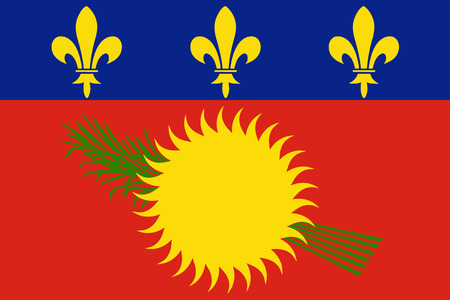 Variant flag of Guadeloupe rate and colors, vector.