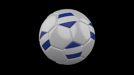 Soccer ball with flag El Salvador colors rotates on black background, 3d rendering