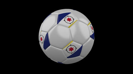 Soccer ball with flag Bonaire colors rotates on black background, 3d rendering