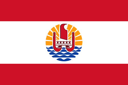 Flag French Polynesia in official rate and colors, vector.