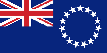 Flag Cook Islands in official rate and colors, vector.