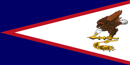 Flag American Samoa in official rate and colors, vector
