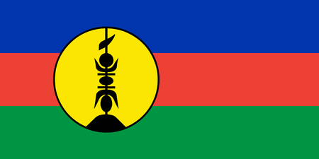 Flag New Caledonia in official rate and colors, vector.