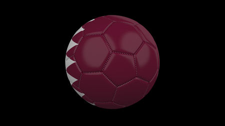 Soccer ball with the flag of Qatar colors , 3d rendering
