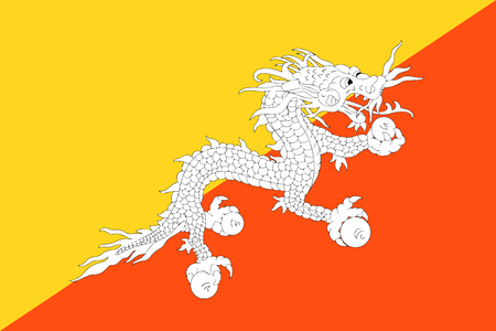 Flag Bhutan in official rate and colors, vector.