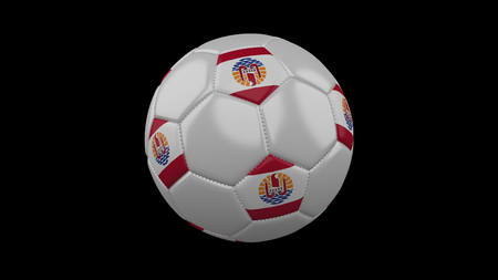 Soccer ball with flag French Polynesia colors, 3d rendering