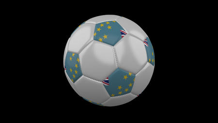 Soccer ball with flag Tuvalu colors, 3d rendering Imagens