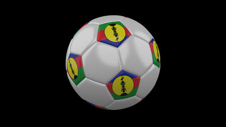 Soccer ball with flag New Caledonia colors, 3d rendering