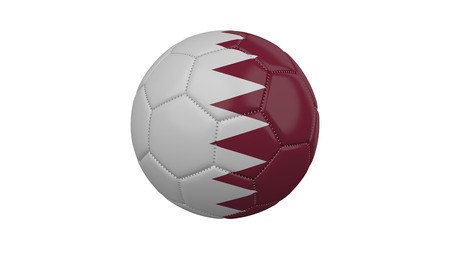 Soccer ball with Qatar flag, isolate on a white background, 3d render.
