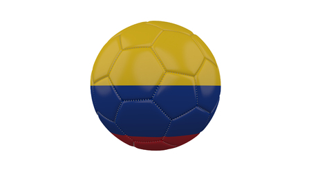 Soccer ball with Colombia flag, isolate on a white background, 3d render.