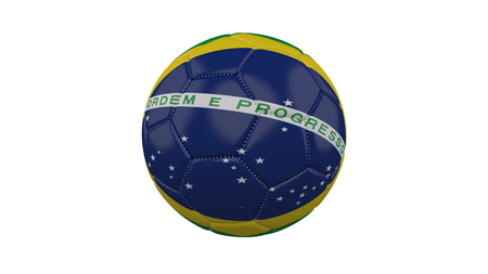 Soccer ball with Brazil flag, isolate on a white background, 3d render.