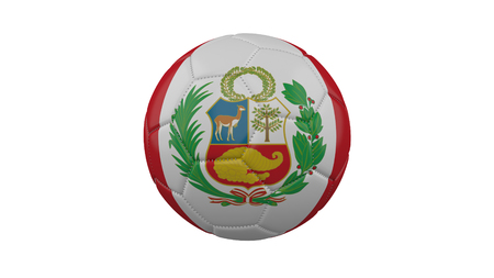 Soccer ball with Peru flag, isolate on a white background, 3d render.