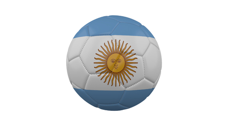 Soccer ball with Argentina flag, isolate on a white background, 3d render.
