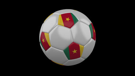 Soccer ball with flag Cameroon, 3d rendering football
