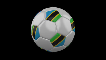 Soccer ball with flag Tanzania, 3d rendering football 版權商用圖片