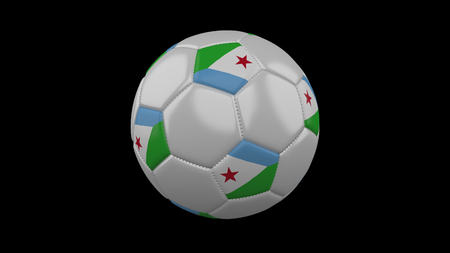 Soccer ball with flag Republic Djibouti, 3d rendering football